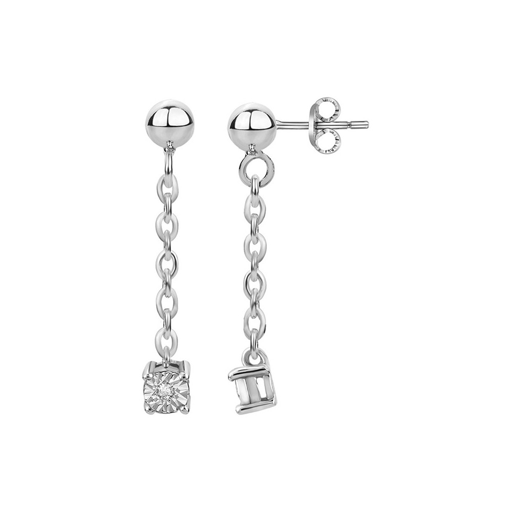 boucles d 39 oreilles pendante argent et diamants. Black Bedroom Furniture Sets. Home Design Ideas
