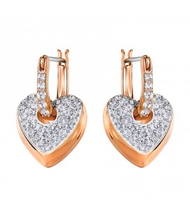 Boucles d'oreilles Coeur Swarovski Even Dangling Rose Gold - 5190213