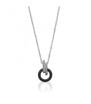 Collier Céramique Argent & Diamants Ceranity 1-78/0007-N